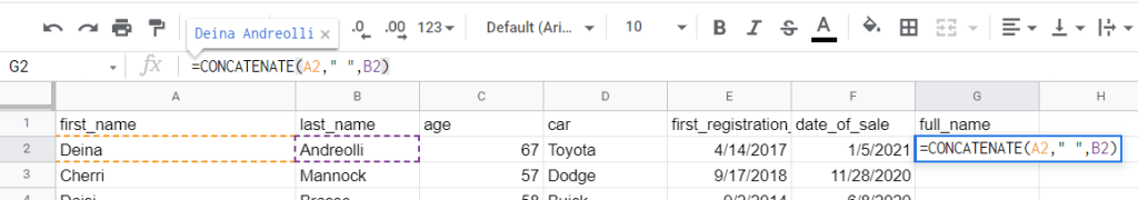 Google Sheets CONCATENATE with space