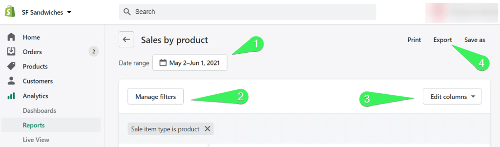 Export Shopify reports as CSV