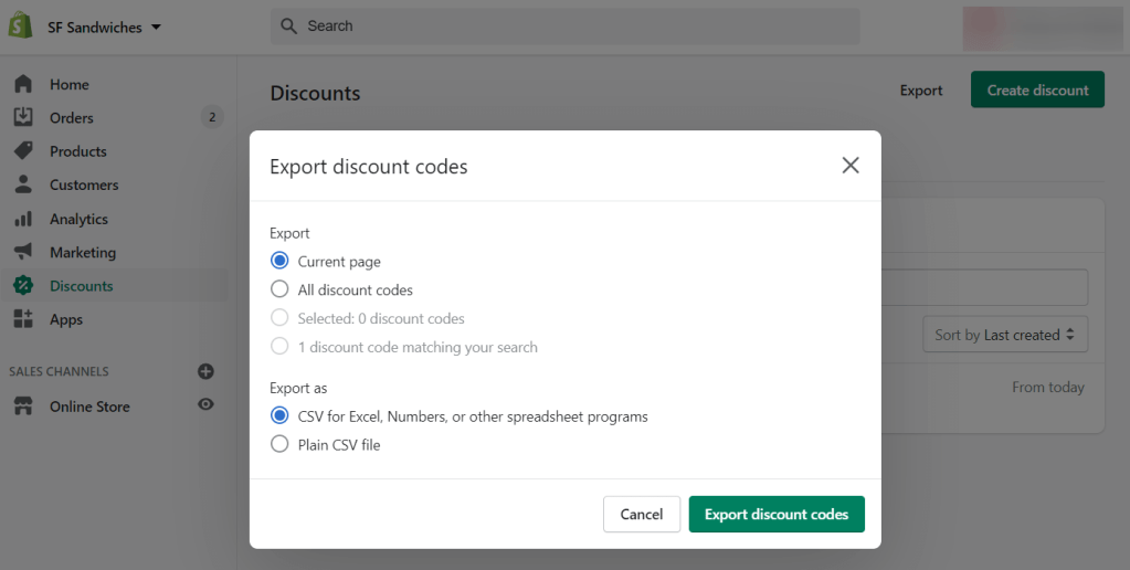 Export Shopify discount codes as CSV