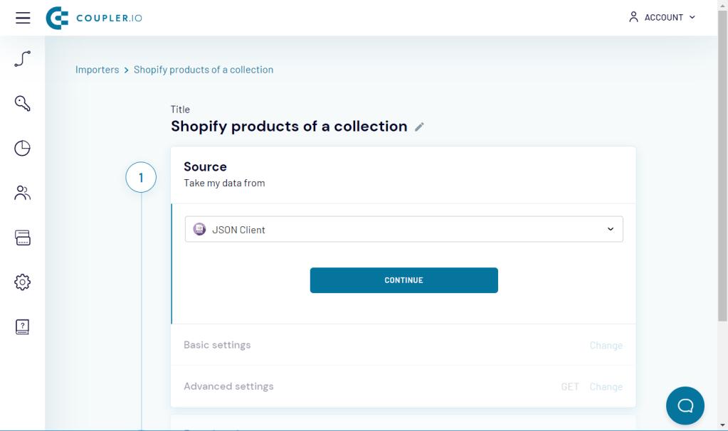 JSON Client as a source