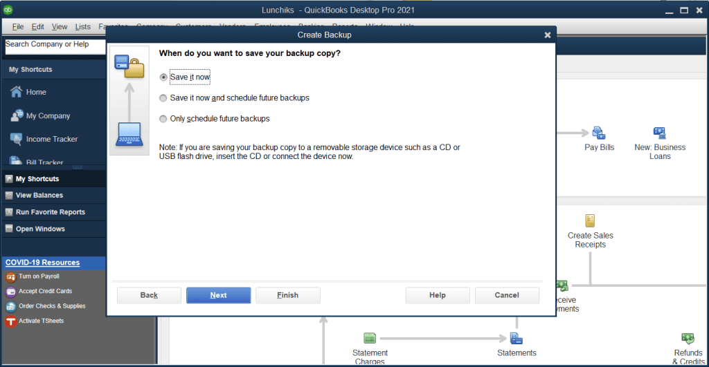 choose when to save your backup copy
