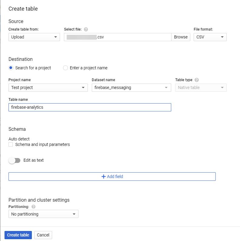 Upload CSV to BigQuery