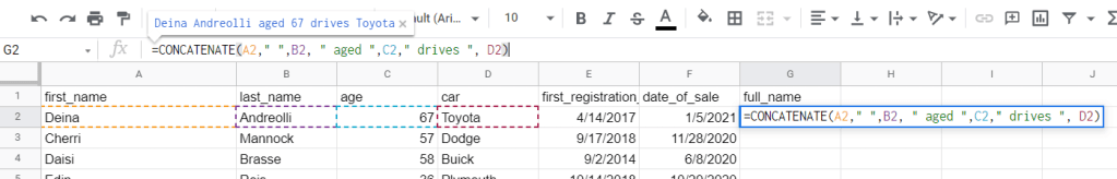 Google Sheets CONCATENATE string and number