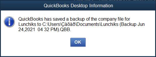 QuickBooks data backed up