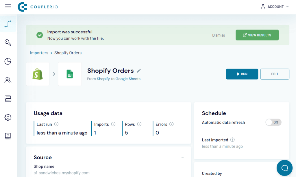 Shopify importer by Coupler.io