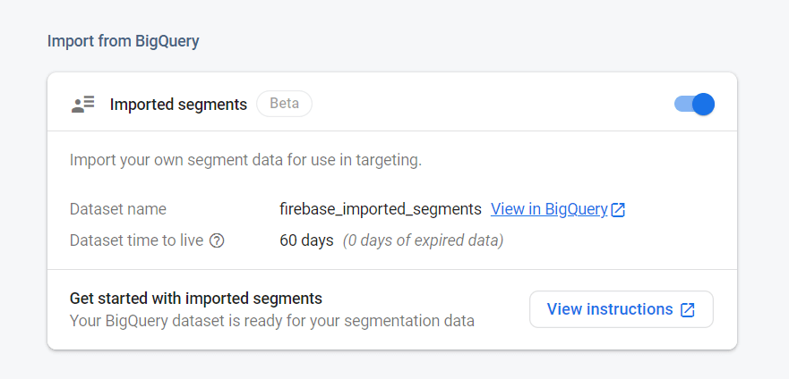 Import from BigQuery enabled