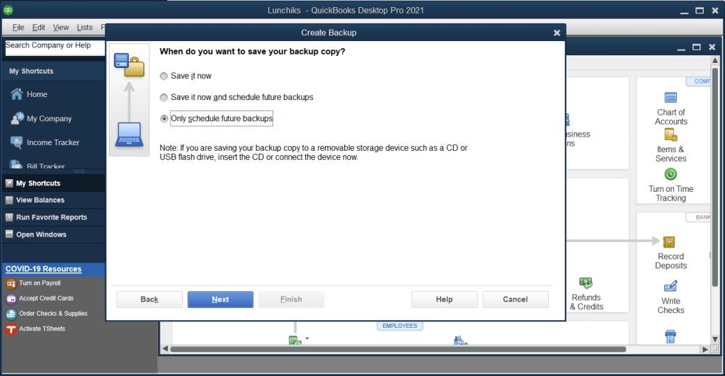 Create QuickBooks scheduled backups