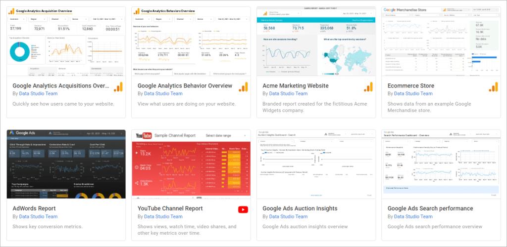 Google Data Studio premade templates