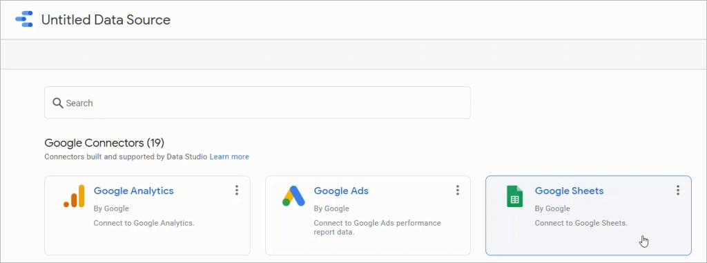 Figure 09. Adding a Google Sheets data connector