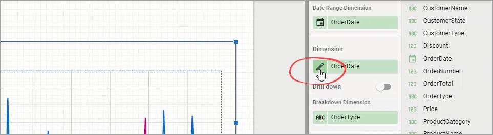 Figure 32. Editing the OrderDate dimension