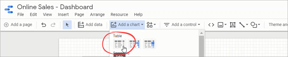 Figure 35. Selecting Table from the chart type dropdown