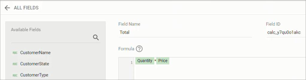 Figure 39. Adding a formula to a calculated field