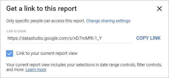 Figure 53. Get report link