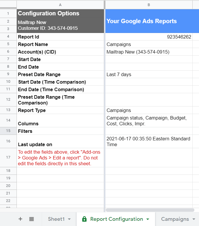 Campaigns report example