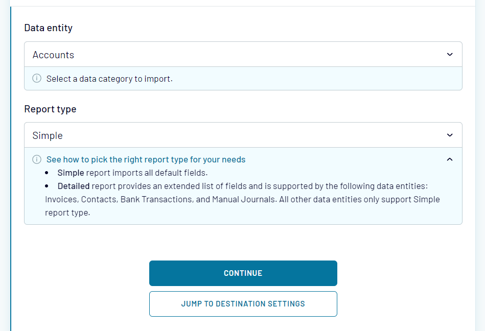 Select a Xero data entity to back up, as well as a Report type - simple or detailed.