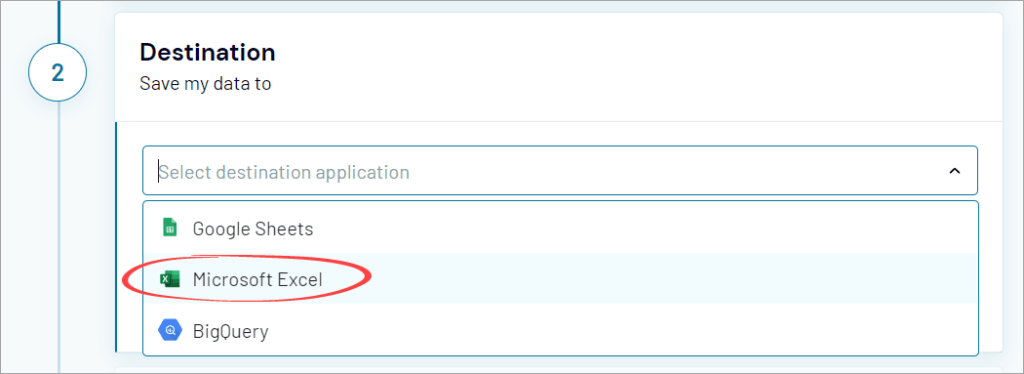 Figure 5.2: Coupler.io Microsoft Excel destination