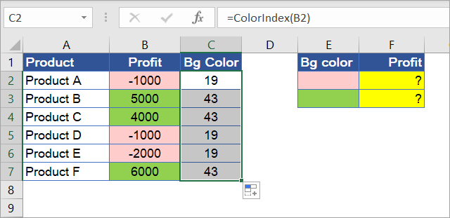 Figure 7.15.4: Using the ColorIndex function in cells