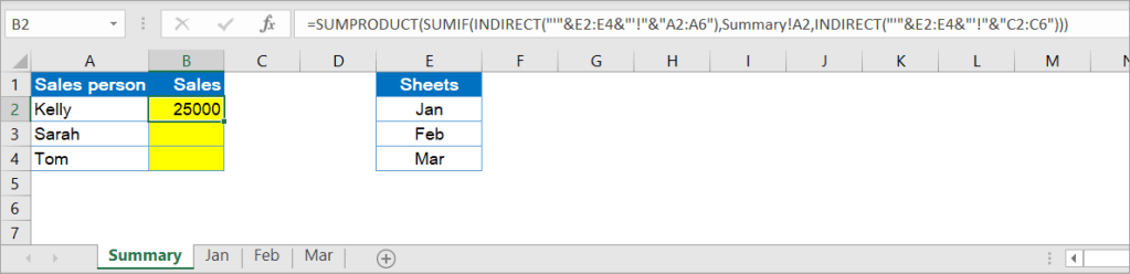 Excel SUMIF formula to sum across multiple sheets