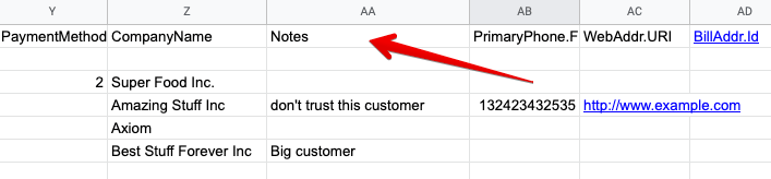 18 - quickbooks export customers with notes