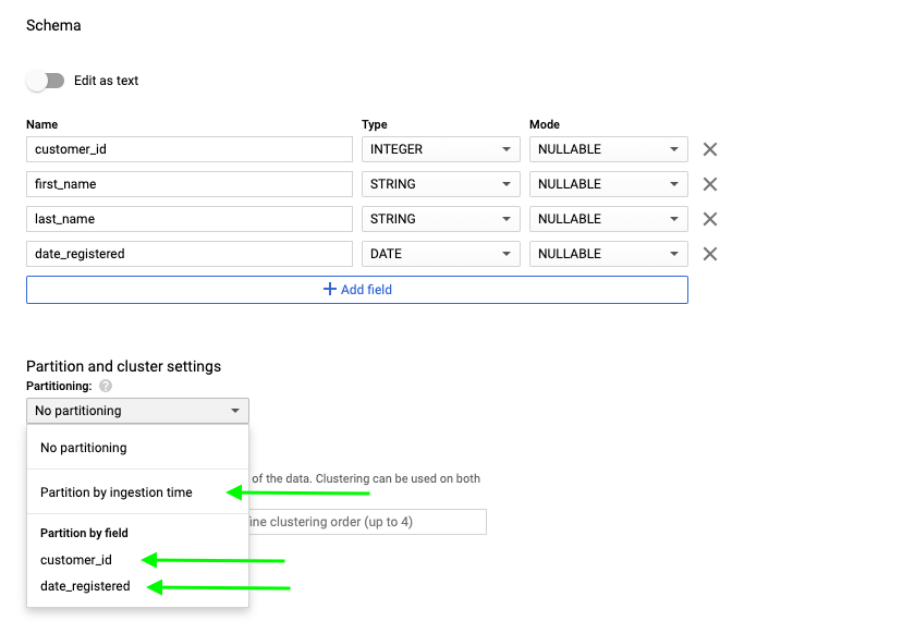 2 - bigquery partition by field