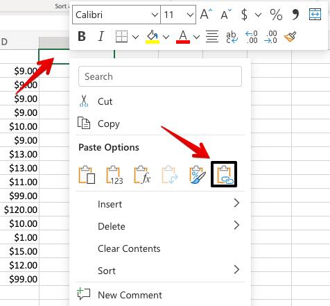 20 - excel paste column as link