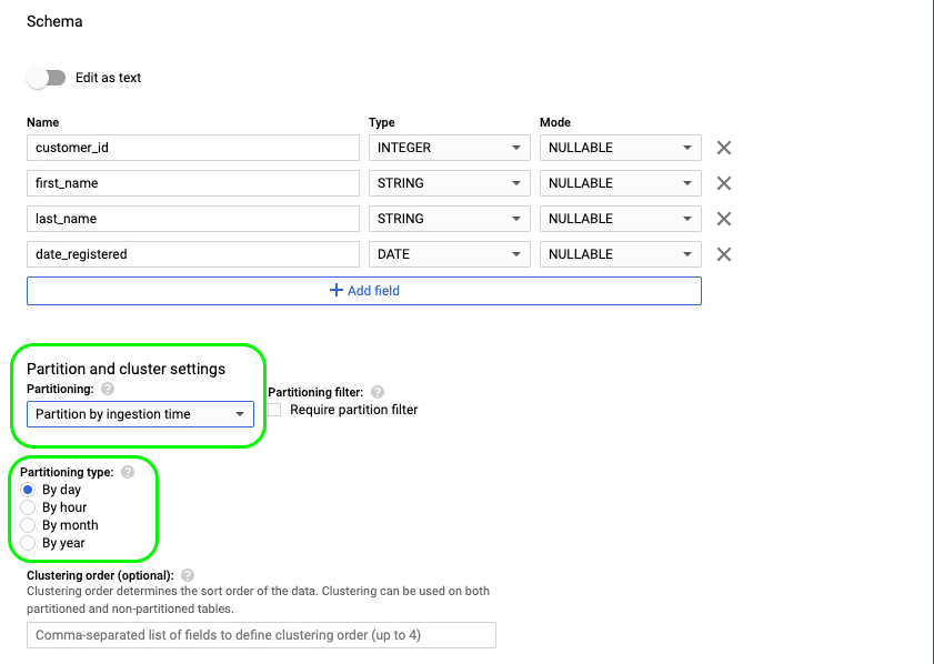 3 - bigquery partition and cluster settings
