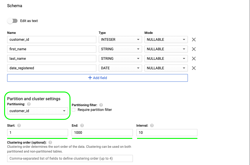 4 - bigquery clustering order