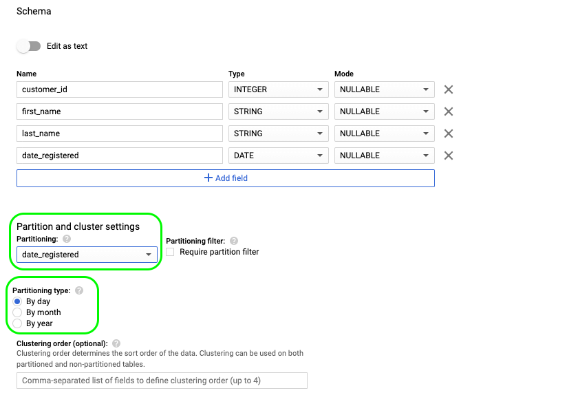 5 - bigquery partition type