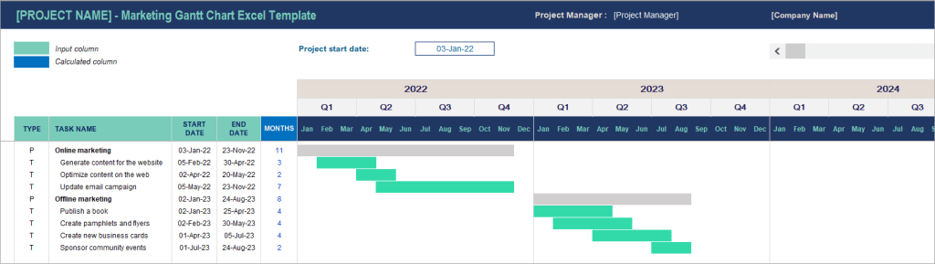 Figure 10. Gantt chart template in Excel for marketing projects
