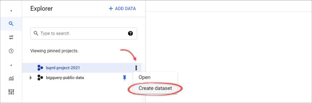 Figure 2. The menu to create a dataset